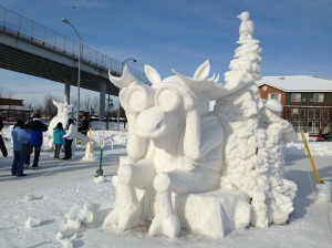 snow sculptures during the winter festival, Fur Rendesvous