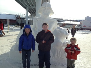 snow sculptures are better with friends